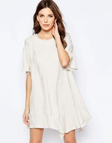 French Connection Drop Waist Dress in Palm Crepe
