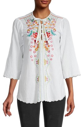 Johnny Was Limon Embroidered Cotton Blouse