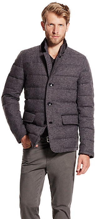 Vince Camuto Mens Flannel Down Jacket