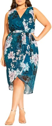 City Chic Jade Floral Wrap Front Sleeveless Dress