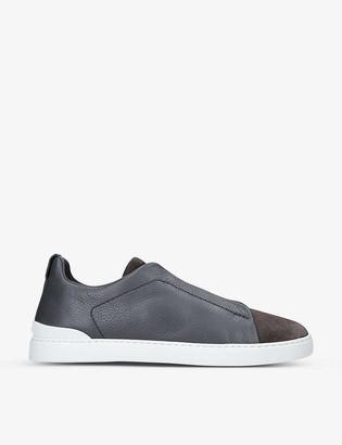Ermenegildo Zegna Tripe Stitch grained leather trainers
