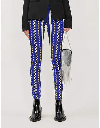 Haider Ackermann Slim-fit check-pattern woven and leather trousers