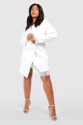 boohoo Plus Lace Insert Blazer Dress