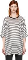R 13 Black & White Striped Boyfriend T-Shirt