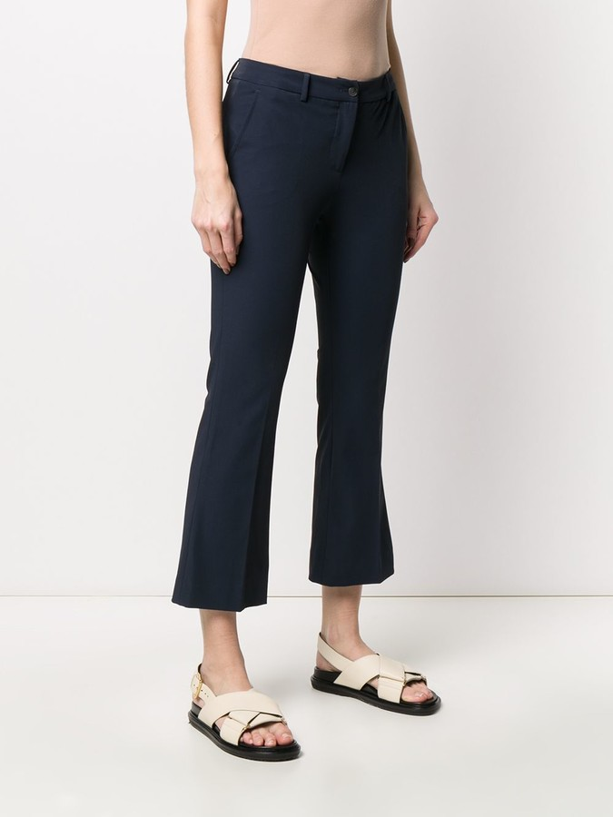 Thumbnail for your product : Pt01 Cropped Flared Trousers
