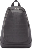 Alexander McQueen Grey Croc-Embossed Leather Backpack
