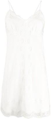 Ermanno Scervino lace trim silk dress