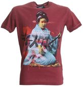 DSQUARED2 Printed Burgundy Cotton T-shirt