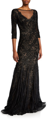 Couture Theia Embellished Tulle 3/4-Sleeve Godet Illusion Gown