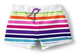 Classic Girls Woven Swim Shorts-White Multi Stripe