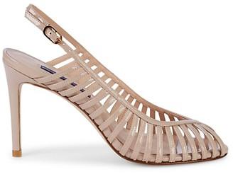 Stuart Weitzman Olive Cage Patent Leather Slingback Sandals