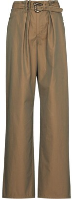 By Any Other Name Belted-Waist Wide-Leg Trousers