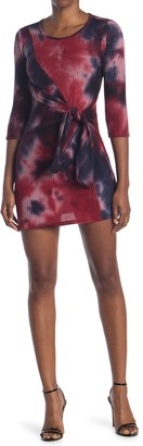 Bailey Blue Tie Dye Printed Knot Front Dress