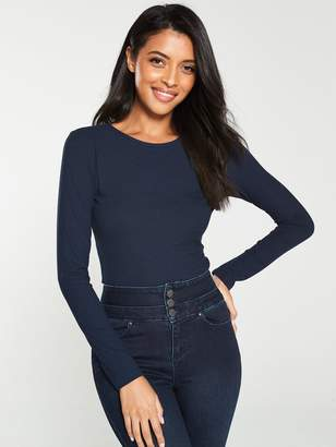 Very The Essential Ribbed Long Sleeve Top -Navy