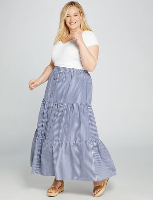 Lane Bryant Striped Button-Front Maxi Skirt