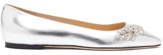 Jimmy Choo Mirele Crystal-embellished Leather Ballet Flats - Womens - Silver