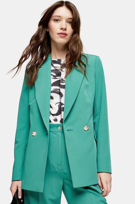 Topshop Womens Mint Double Breasted Blazer - Mint