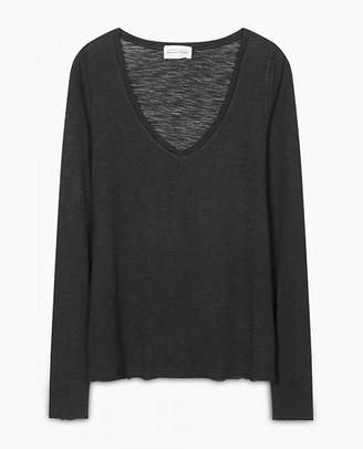 American Vintage Black Jacksonville Long Sleeve T Shirt - X Small - Black