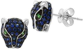 Effy 14K White Gold, Sapphire & Tsavorite Stud Earrings