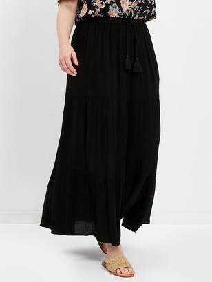 Evans Black Tiered Maxi Skirt
