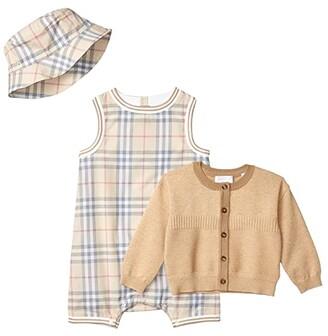 BURBERRY KIDS Chet Set (Infant) (Pale Stone IP Check) Kid's Active Sets
