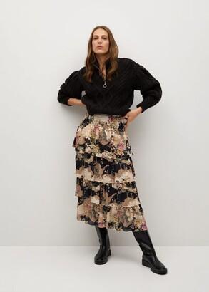 MANGO Printed ruffle skirt