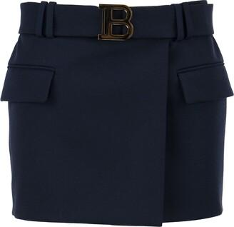 Balmain Short Blue Wool Low-rise Skirt