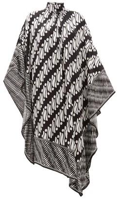 Andrew Gn Printed Silk-satin Kaftan Dress - Womens - Black White