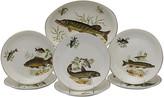 One Kings Lane Vintage English Fish Serving Set - 7Pcs - Rose Victoria - green/white/multi