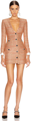 Alessandra Rich V Neck Sequin Tweed Mini Dress in Coral & Gold | FWRD