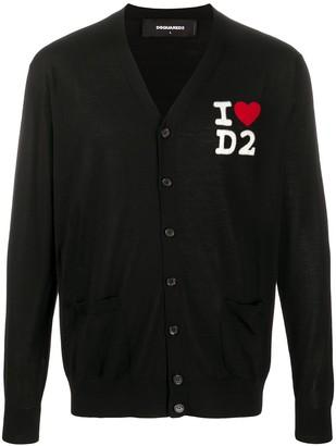 DSQUARED2 logo-embroidered V-neck cardigan