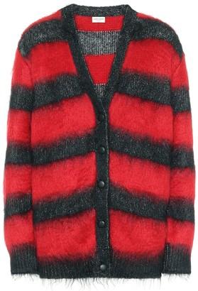 Saint Laurent Striped mohair-blend cardigan