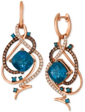 LeVian Le Vian Crazy Collection Deep Sea Blue Topaz (7-1/2 ct. t.w.) & Diamond (1 ct. t.w.) Drop Earrings in 14k Rose Gold