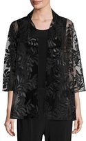 Caroline Rose 3/4-Sleeve Leather Leaf Mesh Jacket, Black, Petite