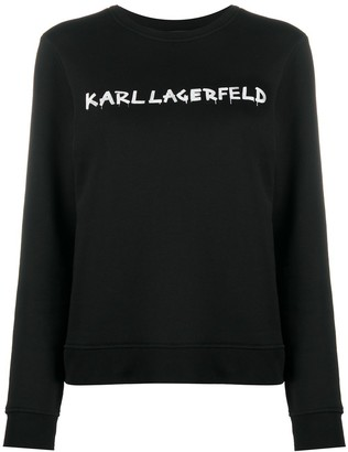 Karl Lagerfeld Paris Graffiti logo print sweatshirt