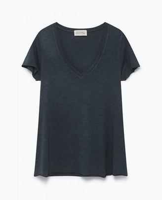 American Vintage Navy Jacksonville Short Sleeve T Shirt - X Small - Blue