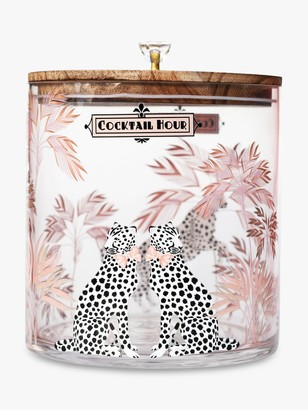 Yvonne Ellen Cocktail Hour Cheetah Glass Ice Bucket & Wood Lid, 3.8L, Clear/Natural