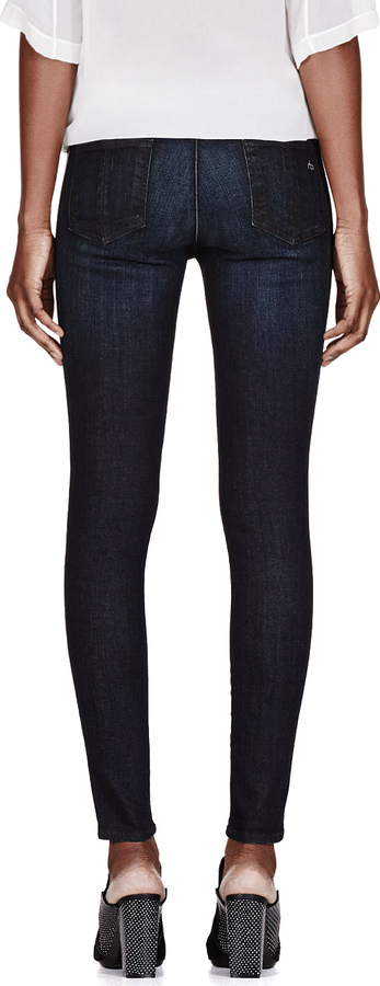 Rag and Bone Rag & Bone Deep Blue Leather-Trimmed The Pop Legging Jeans