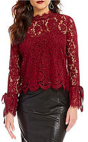 Lucy Paris Lace Bell Sleeve Mock Neck Top