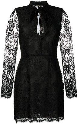 Saint Laurent Lace-Embellished Mini Dress