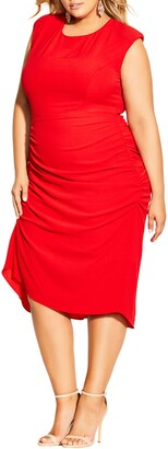 City Chic Side Ruched Sheath Dress