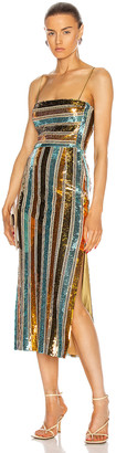 Galvan Stargaze Cocktail Dress in Turquoise Multi Stripe | FWRD