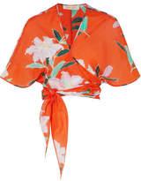 Diane von Furstenberg Floral-print Cotton And Silk-blend Gauze Wrap Top - Tomato red