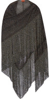 Missoni Fringed Metallic Crochet-knit Wrap - Gray