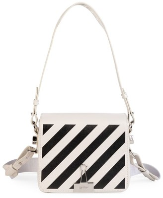 Off-White Diagonal Binder Clip Leather Crossbody Bag