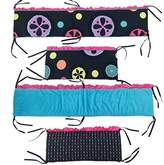 One Grace Place Magical Michayla Crib Bumper, Black, Pink and Turquoise by