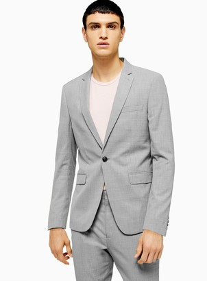 Topman Grey Marl Skinny Fit Single Breasted Suit Blazer With Notch Lapels