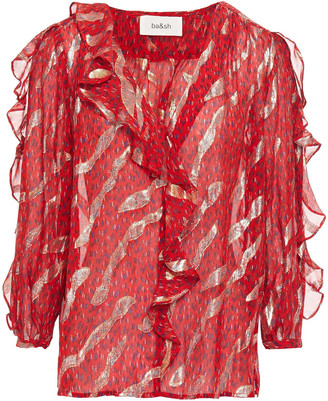 BA&SH Ruffled Metallic Fil Coupe Silk-blend Georgette Blouse