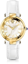 Versace Revive 3H White and PVD Gold Plated Women's Watch w/Croco Embossed Band