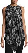 Max Studio Sleeveless Pleated Floral-Print Chiffon Tunic, Black/Ecru